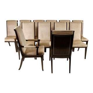Bernhard Rohne for Mastercraft Amboyna Burl and Brass Dining Chairs - Set of 12 For Sale