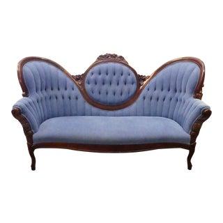 Vintage Victorian Blue Sofa For Sale