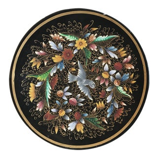 Asian Black Laquered Painted Floral Plate For Sale
