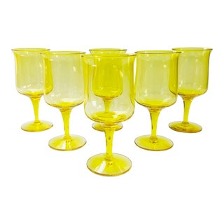 Vintage Vibrant Yellow Wine Glasses - Set of 6 For Sale