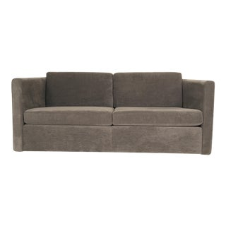 Knoll Charles Pfister Tuxedo style Settee or Loveseat in a soft Grey Upholstery