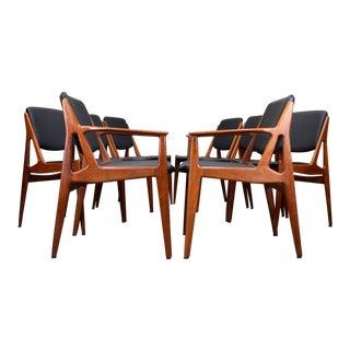 Arne Vodder 'Ella' Danish Teak & Leather Dining Chairs, Restored, Set/8