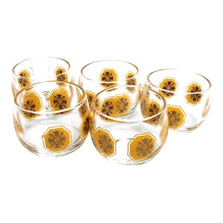 Vintage Mid Century Roly Poly Whiskey Glasses- Set of 5 For Sale