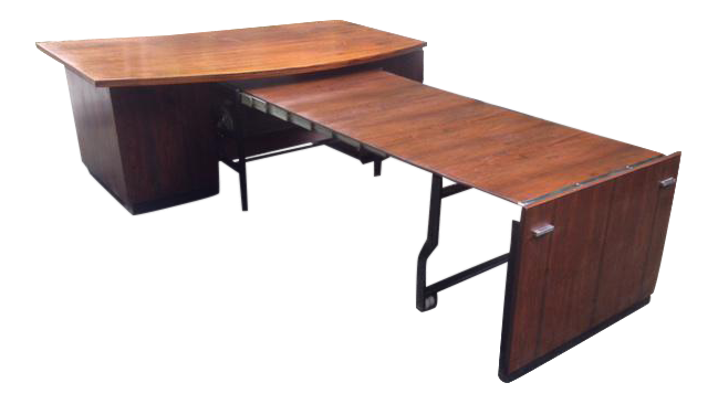 Exceptionnel Chairmanu0027s Rosewood Office Desk With Retractable Conference Table