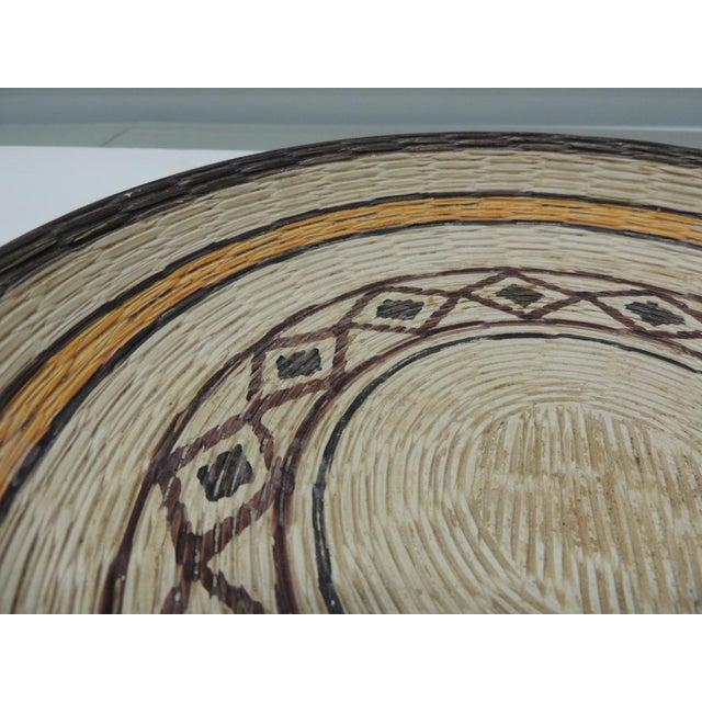 Vintage Yellow and Brown English Basket Weave Design Ceramic Decorative Bowl A large, basket weave, ceramic design art...