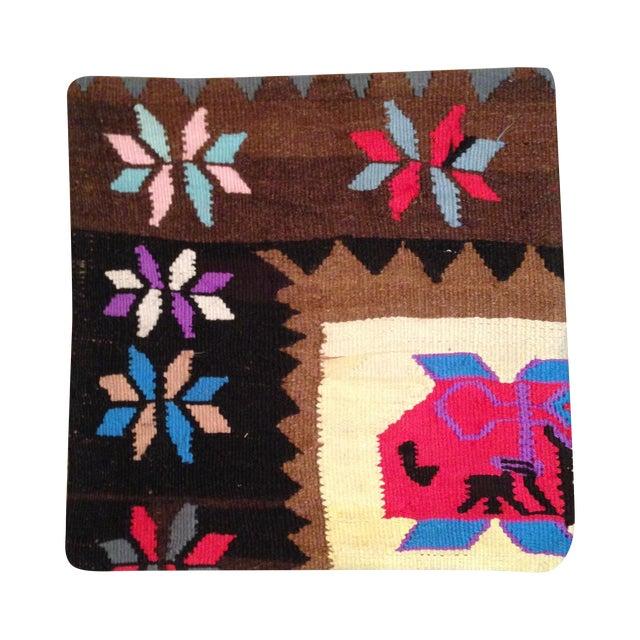 Vintage Brown Kilim Pillow - Image 1 of 5