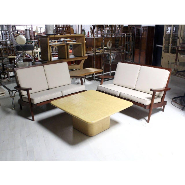 Mid Century Modern Square Cloth Covered Coffee Table