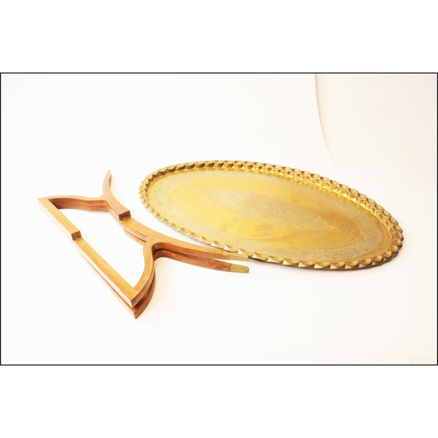 Vintage Moroccan Coffee Table with Brass Charger Top - Image 11 of 11