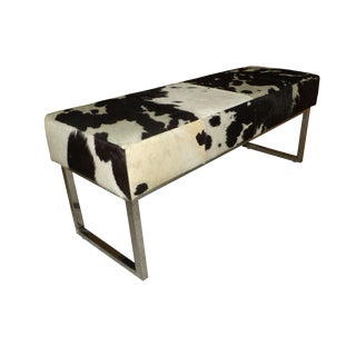 Modern Black & White Cowhide Chrome Bench For Sale