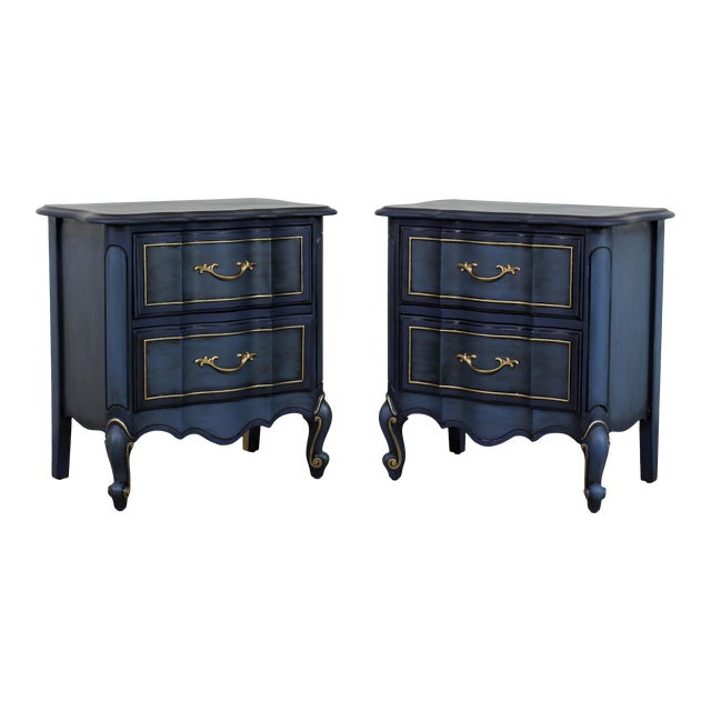 1960s Blue French Provincial Nightstands - a Pair For Sale
