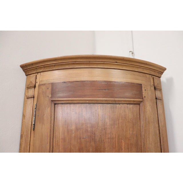19th Century Italian Solid Chestnut Large Corner Cupboard or Corner Cabinet For Sale - Image 4 of 11