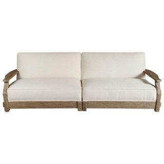 Mid-Century Distressed Oak Sofa For Sale