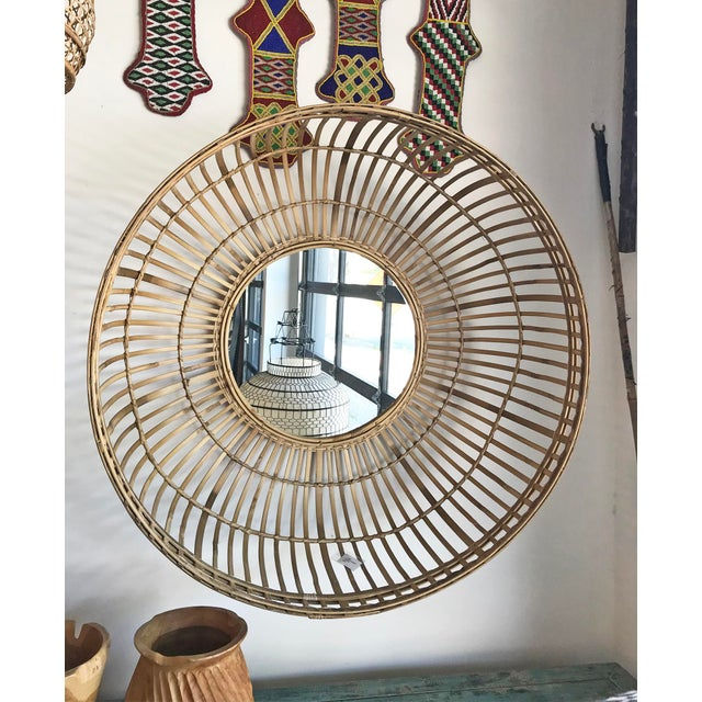 Contemporary Tan Bamboo Basket Mirror For Sale - Image 3 of 6