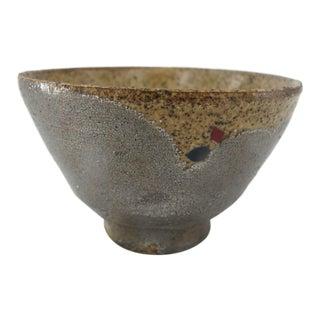 Fine Speckled Gold Metallic Japanese Studio Pottery Tea Bowl Cup Signed Kanji For Sale