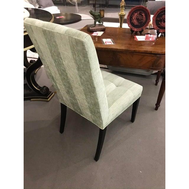 Robert Allen Robert Allen Green Stripe Tufted Chair For Sale - Image 4 of 6