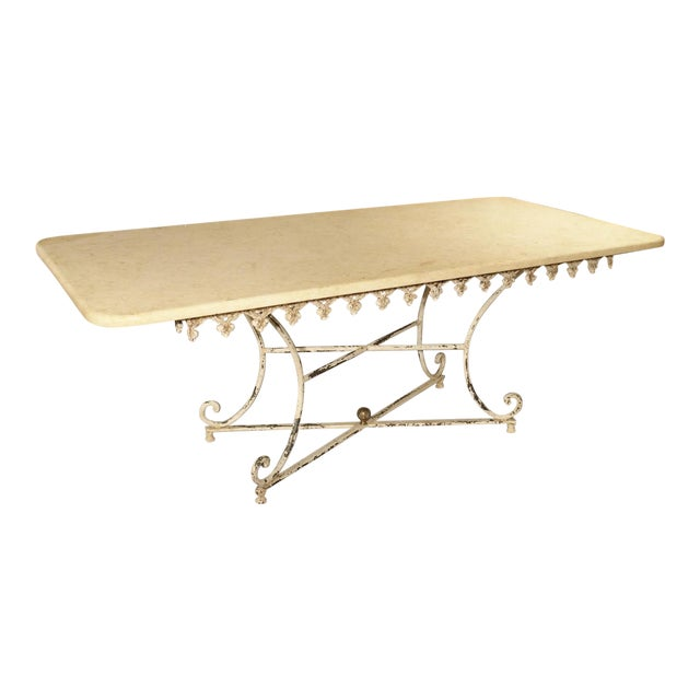 Large Antique French Iron and Marble Butcher Display Table, Circa 1915 For Sale