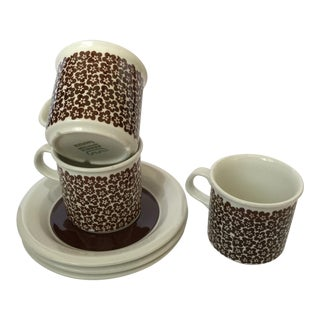 VTG MCM Rare ARABIA of Finaland Faenza Brown Cup & Saucers S/3 For Sale