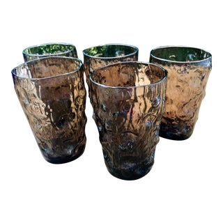 Mid Century Modern Brutalist Smoke Glass Icicle Juice Glasses - Set of 5 For Sale