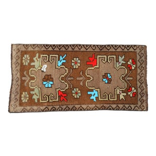 Distressed Low Pile Turkish Yastik Petite Rug Hand Knotted Faded Mat - 17'' X 34'' For Sale