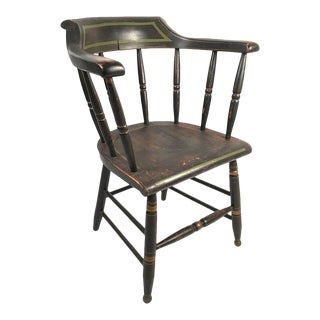 Black and Green Painted Captain's Chair