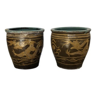 Late 19th Century Vintage Chinese Dragon Planters - a Pair For Sale