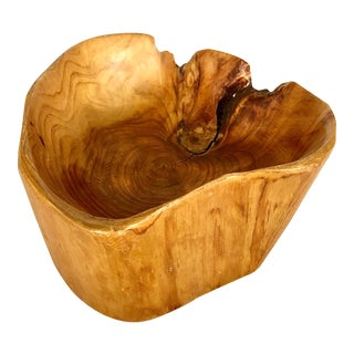 Contemporary Raw Edge Artisanal Burl Wood Bowl For Sale