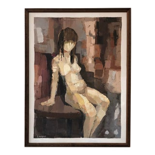 """Original Oil on Canvas Titled, """"Sitting Nude."""" For Sale"""