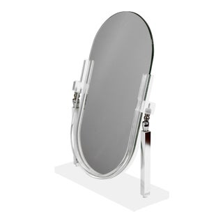 Vintage Charles Hollis Jones Style Chrome and Lucite Tabletop Vanity Mirror For Sale