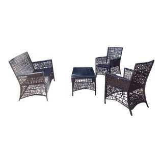 Arianna 4pc Spider Web Wicker Patio Deep Seating For Sale