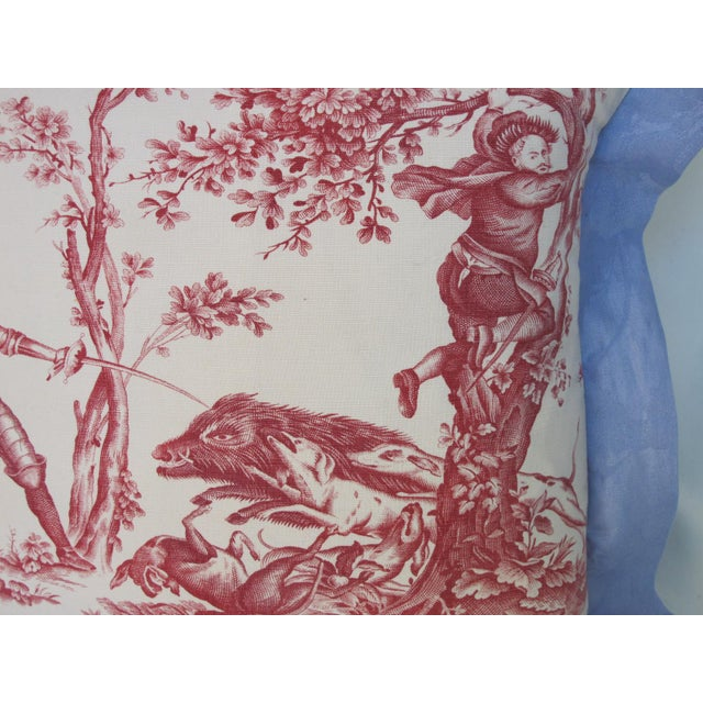 A pillow made from a circa 1880's printed Toile that depicts scenes of Don Quixote, it is edged and backed with hand dyed...