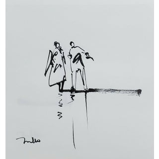 Contemporary Minimalist Figurative Ink Drawing by Jose Trujillo For Sale