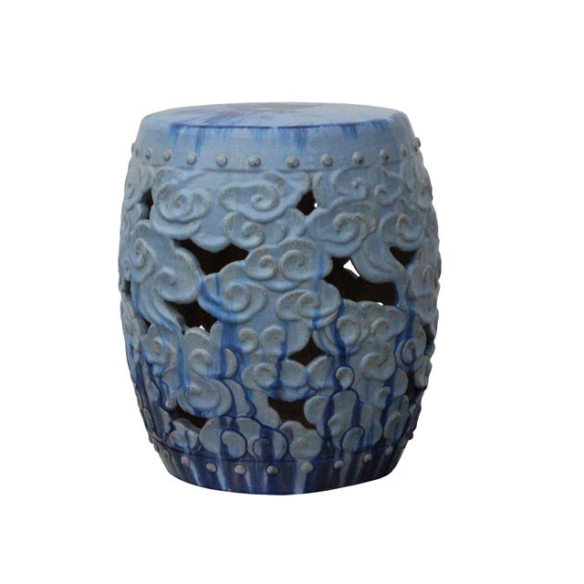 Blue Ceramic Clay Light Blue Glaze Round Scroll Pattern Garden Stool For Sale - Image 8 of 8