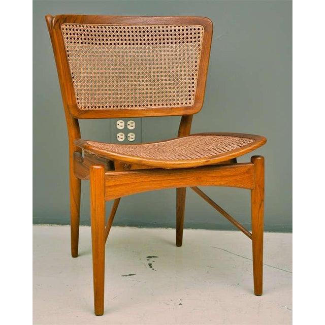 Finn Juhl Finn Juhl Walnut & Cane Chairs - a Pair For Sale - Image 4 of 7