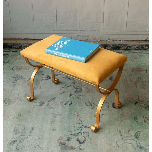 1950s Vintage Iron Suede Seat Bench For Sale - Image 9 of 10