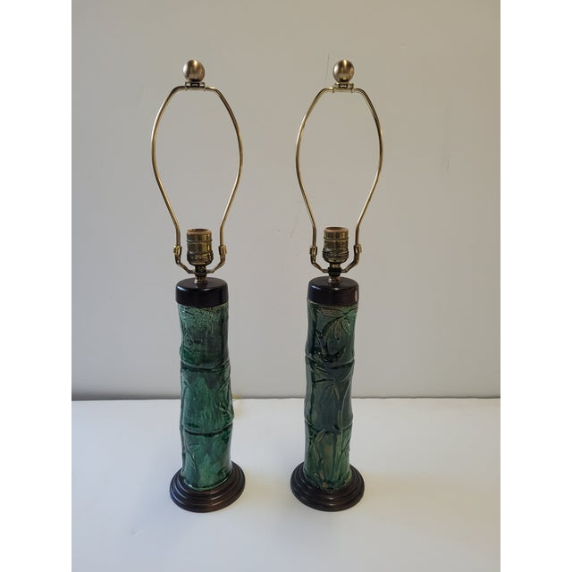 1970s Faux Bamboo Green Glazed Ceramic Lamps - a Pair For Sale In Los Angeles - Image 6 of 6