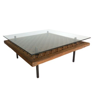 Japanese Wooden Screen Cocktail Table For Sale