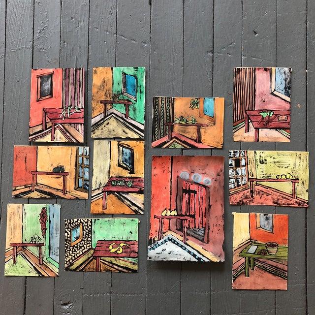 """Collection 11 Original Vintage Gouache Paintings """"Sur La Table"""" For Sale - Image 13 of 13"""