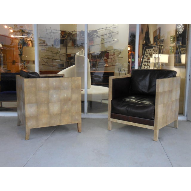 Pair of Jean-Michel Frank Style Shagreen Club Chairs - Image 6 of 8