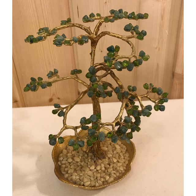 Nice Mid-Century metal and rock sculpture with jade or agate stone for the leaves and gold metal for branches and trunk....