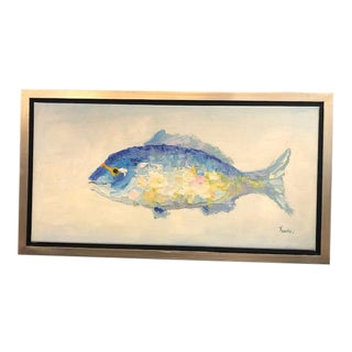 Blue Fish Oil on Canvas Painting, Framed For Sale