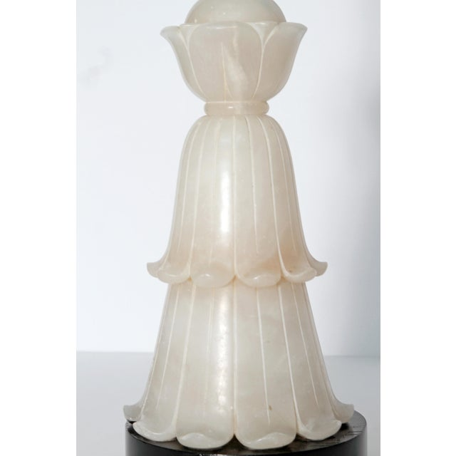 Early 20th Century Tall Art Deco Alabaster Lamp For Sale - Image 5 of 9
