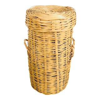 Tall Vintage Cylinder Basket With Lid For Sale