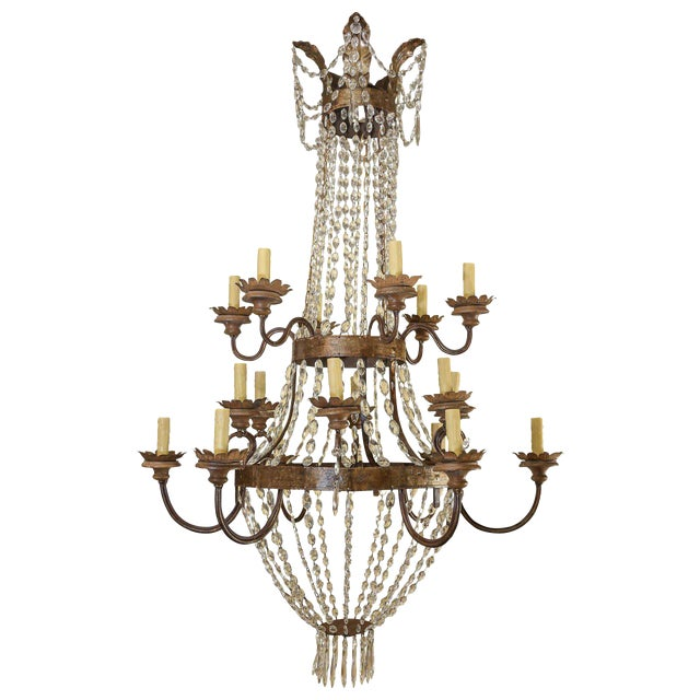 Large Gilt-Iron Italian Chandelier For Sale