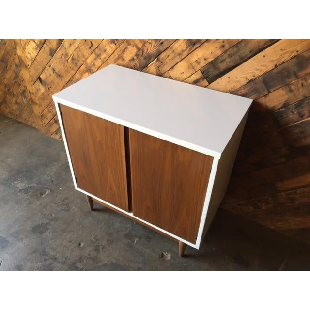 Mid Century Refinished Walnut Lacquered Bar Record Cabinet - Image 3 of 6