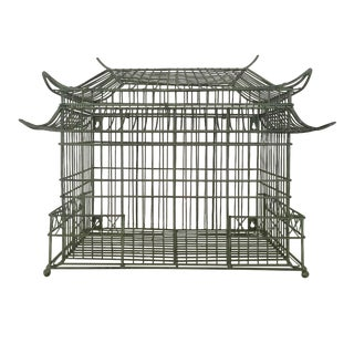 1980s Vintage Green Iron Pagoda Cage For Sale