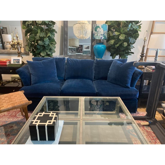 Large Scale Blue Velvet Sofa For Sale - Image 4 of 6