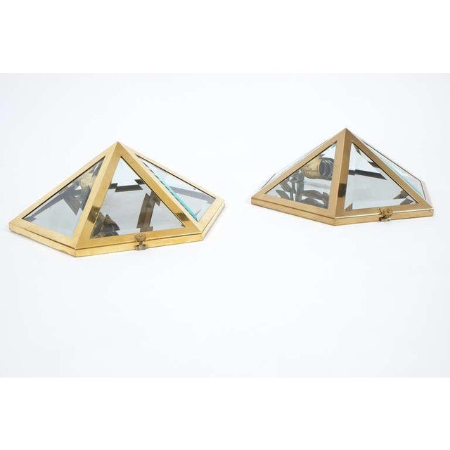 1970s Josef Hoffmann Set of 12 Brass and Glass Pyramid Flush Mounts Wall Lamp, 1900 For Sale - Image 5 of 7