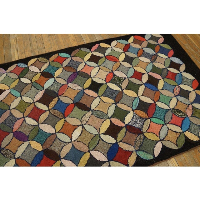 """American Antique American Hooked Rug 3'7"""" X 8'9"""" For Sale - Image 3 of 12"""