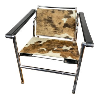 Vintage Lc1 Armchair by Le Corbusier 1970s Cowhide and Leather Chair For Sale