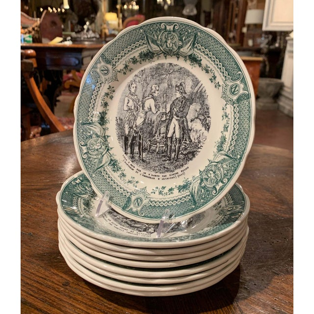 Use this elegant set of eight antique plates to serve appetizer or desert to your guests! Crafted in Sarreguemines,...